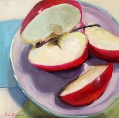 """Daily Paintworks - """"Apple Snack"""" - Original Fine Art for Sale - © Susan Williams"""