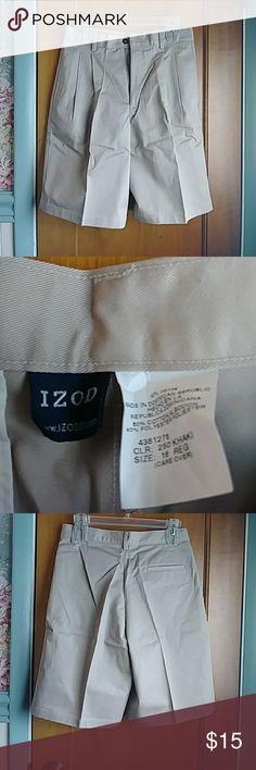 """Izod Pleated Khaki Shorts - Youth 16 Izod Pleated Khaki Shorts - Youth 16 - Dress code approved! - NWOT - never worn - measures approximately 20 1/2"""" top to bottom Izod Bottoms Shorts"""