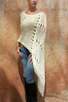 Items similar to Junea- Beautiful Cream HandKnit Poncho By Eva Bella on Etsy Knitted Poncho, Knitted Shawls, Crochet Shawl, Knit Crochet, Hand Knitting, Knitting Patterns, Crochet Fashion, Crochet Clothes, Knitting