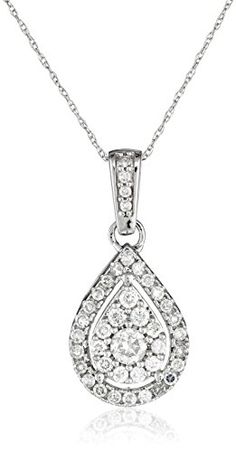 """10k White Diamond with Chain Pendant Necklace (5/8cttw, H-I Color, I2-I3 Clarity), 18"""" Amazon Curated Collection http://www.amazon.com/dp/B00OIPHCHW/ref=cm_sw_r_pi_dp_7H0Sub0KTEF3T"""