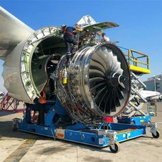 A Rolls-Royce Trent 7000 turbofan jet engine undergoing maintenance 🌀 _ _ Turbine Engine, Gas Turbine, Aviation Technology, Engineering Technology, Rolls Royce Trent, Aircraft Maintenance Engineer, Reactor, Marine Engineering, Airplane Photography