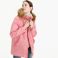 Pink parka with quil