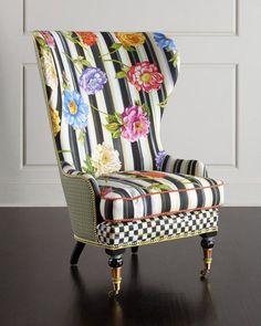 MacKenzie-Childs Cutting Garden High-Back Wing Chair