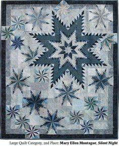Icy winter in a quilt. Lone Star Quilt, Star Quilt Blocks, Star Quilts, Quilt Block Patterns, Two Color Quilts, Blue Quilts, Quilting Projects, Quilting Designs, Snowflake Quilt