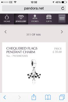 Checkered flag pandora charm: For a girl who loves F1 *me*
