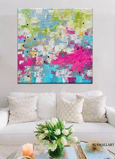 Gran rosa arte teal pintura abstracta rosa Giglee por BuyWallArt