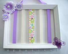 11x14 picture frame hair bow and headband holder, hair accessories holder, girls room decor, purple, off white