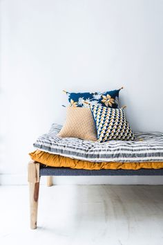 Jamini - Indigo Blue Medium Devi 24 x 24 inches Pillowcase - Yellow/Blue/White Parisienne Chic, Rainbow House, Kids Room Furniture, Living Room Red, French Chic, Simple Colors, Creative Decor, Home Textile, Mustard Yellow