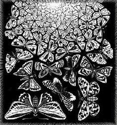 """M.C. Escher- """"Butterflies""""- June 1950, Wood engraving."""