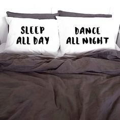 Pillowcases Sleep All Day Dance All Night White Pillow cases 100% Cotton Printed Pillows Pillow Case Set Cover KYOUSTUFF