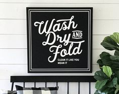 VINTAGE LAUNDRY Painted wood sign SML Sizes available