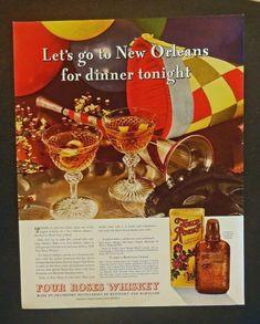 Four Roses Whiskey  Print ad  full color illustration 1935 original Fortune Magazine art