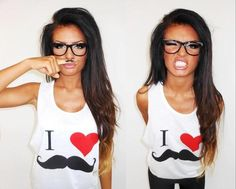 I want that shirt and her hair and her glasses. Oh and the tan would be nice too.