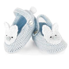 Blue Crochet Baby Boy's Bunny Booties