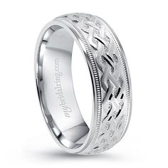 Twist and Twirl Patterns Wedding Band - This Beautiful Design Crafted in 14k White Gold - OUR PRICE: $859.99