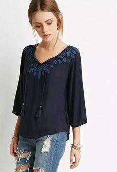 NRB51 Fashion women White Cotton drawstring floral Embroidery blouse vintage Three Quarter sleeve shirt casual brand female