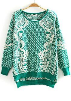 Green Geometric Embroidery Irregular Loose Cotton Blend Sweater