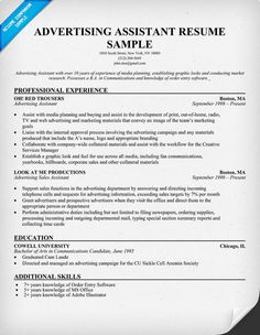 free advertising assistant resume example resumecompanioncom resume samples across all industries pinterest resume examples and career help