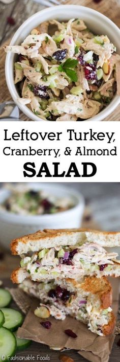 Turkey, Cranberry, and Almond Salad Put that leftover Thanksgiving turkey to good use! This leftover turkey, cranberry, and almond salad combines sweet and savory flavors for the perfect day-after lunch. Thanksgiving Leftovers, Vegan Thanksgiving, Thanksgiving Appetizers, Turkey Leftovers, Thanksgiving Prayer, Turkey Dishes, Thanksgiving Outfit, Thanksgiving Crafts, Thanksgiving Decorations