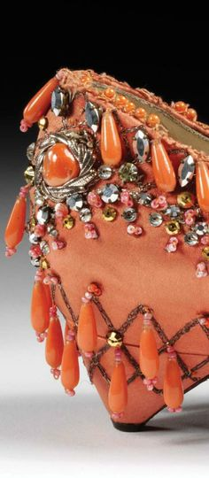 Shoe by Roger Vivier for Christian Dior. Coral and diamante embroidered satin, Paris late 1950s. Museum no. T.150-1974