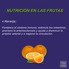 Naranja: Aporta vitamina A, B1 y C, aminoácidos, potasio, socio, hierro, y calcio. #VitalidadFísica