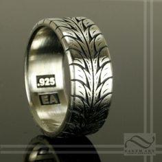 Best men's wedding ring!!  So cool :-) #mens #weddingring #wedding #ring #mechanic #tyre