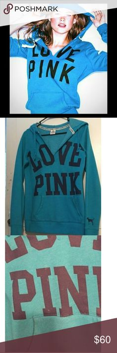 Victoria's Secret PINK V Neck Boyfriend Hoodie Super soft and comfortable boyfriend hoodie from Victoria's Secret pink. Some wear on letters as shown, not very noticeable when worn. Rare color. Gorgeous deep aquamarine. Great for fall and winter. Size XS PINK Victoria's Secret Tops Sweatshirts & Hoodies