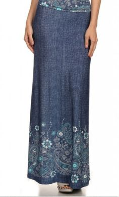 Rosetta - womens classy dark denim maxi skirt with floral waist and hem available in S-L