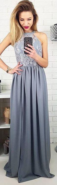 Maxi dress. Długa szara sukienka Olivia na wesele, ślub, poprawiny. Piękna długa sukienka dla druhny
