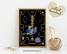 VIRGO Astrology Wall Art,Horoscope Cards, Zodiac Print, Tarot Cards, Star Sign,Digital Download, Astrology Print,Printable,Constellation