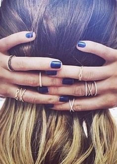 navy nails + little rings