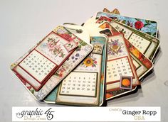 Graphic 45 Time to Flourish Tag Calendar 2 Graphic 45, Diy Calendar, Calendar Design, Calendar Journal, Paper Cards, Paper Gifts, Stampin Up, Handmade Tags, Scrapbook Albums
