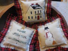 Primitive Christmas Ornaments Handpainted Pillow Tucks Prim Bowl Fillers Snowman Tree by auntiemeowsprims on Etsy