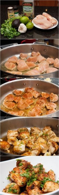 Ingredients • Boneless Chicken, 3 breasts • Limes, 3 or 4 • Garlic, 4 to 6 cloves • Olive Oil • Cumin • Cayenne or Chili Powder • Cilantro, 1/4 cup, snipped • Avocado, optional Instructions • Mince...