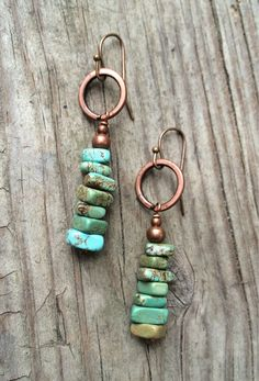 Turquoise Earrings Blue Green Turquoise Dangle by RusticaJewelry