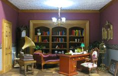 Charming Dollhouse Miniature Room Box Victorian Library Study with Parquet flooring. $368.00, via Etsy.