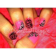 My pink zebra / cheetah print nail art <3 #cute #nails #diy #mine #me #myself #pink #black #sparkles