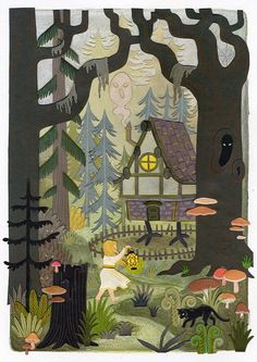baba_yaga_house_fairytale_spooky_forest_woods_illustration.jpg (778×1100)