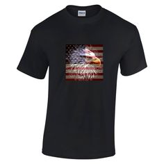 American Eagle Flag T-shirt - Premium Cotton Unisex or Ladies T Shirt - Free UK delivery - USA 4th July Patriotic United States TShirt Gift by Printoid on Etsy