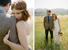 I love his suit and the outdoor scenery...not her head band/dress...