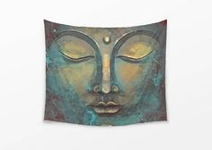 Visit my Shop to use this coupon code for 20% off: XMAS16 --- Until 7th December 2016. --- WALL TAPESTRY watercolor Buddha wall hanging large wall decor Rusty Buddha Face tapestry Zen Tapestry Harmony Meditation Rustic Buddha by DrawingIllustration