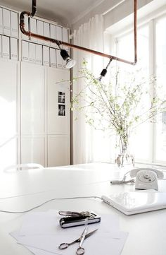 All White Office / Copper Pipes / Apartment 34