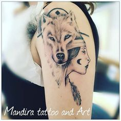 Wolf with native american girl realistic tattoo on arm by Mandira