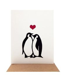 Penguins in Love  Screenprinted Valentine's Day by OrangeTwist, $4.50