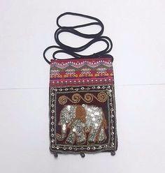 Thai Elephant  Zipper Shoulder Crossbody Bag Wallet Coin Hmong Handmade Souvenir