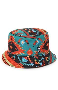 8c230b49fee This colorful men s bucket hat comes with some crazy striped style with a  tribal feel and Neff logos throughout. Allover multi color print ...