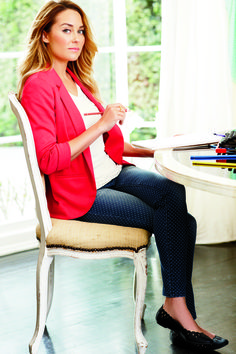 Lauren Conrad's Spring collection for Kohl's; Blazer; Red; Tee; Top; V neck; Jeans; Black; White; Polka dot; Skinny; Flats; Makeup; Lip; Pink; Light; Ring; Gold; Spring; Fall; Autumn; P54