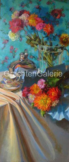 Dahlia's | Keimpe van der Kooi | Stilleven | Schilderij