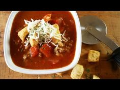 Hearty Pizza Soup recipe - YouTube - @Gooseberry Patch (easily adaptable for the crockpot!)