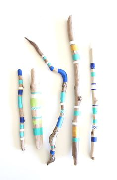 Painted Driftwood Collection Tribal Boho Cobalt Blue & Turquoise Vancouver…